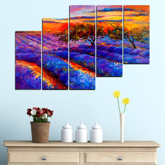 Canvas prints & wall decorative panels - 5 pieces №0084 » Red, Purple, Blue, Yellow, Orange, Dark grey » Flowers, Nature, Drawing, Lavender, Art, Field Form #8