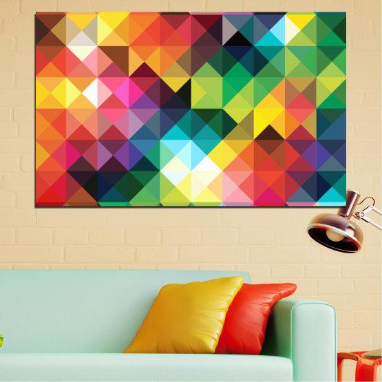 Декоративни панели и картини от канава - от 1 част №0163 » Червен, Зелен, Жълт, Оранжев, Тъмно сив » Абстракция, Блестящ, Цветен Form #1