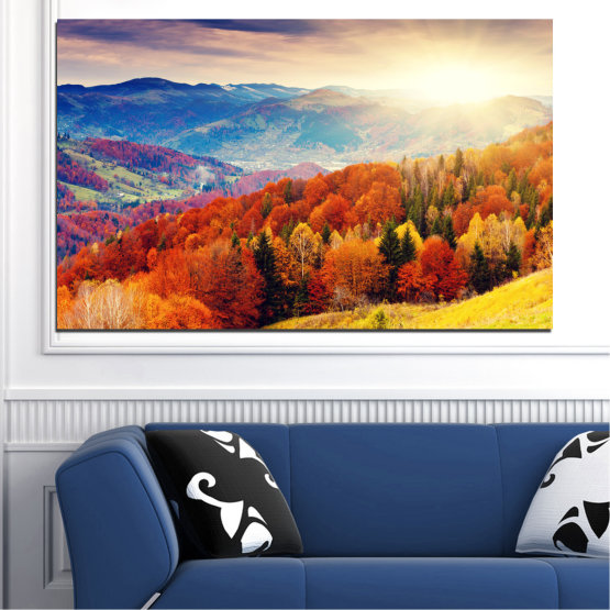 Canvas prints & wall decorative panels - 1 piece №0165 » Red, Blue, Yellow, Orange, Brown, Gray, Beige » Nature, Landscape, Forest, Sun, Mountain, Sunrise, Autumn Form #1