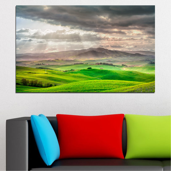 Canvas prints & wall decorative panels - 1 piece №0166 » Green, Gray, Beige, Dark grey » Nature, Landscape, Mountain, Meadow, Cloud, Field Form #1