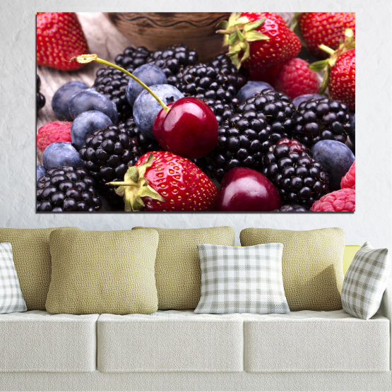 Canvas prints & wall decorative panels - 1 piece №0167 » Red, Purple, Blue, Brown, Black, Gray, Dark grey » Culinary, Fruits, Cherries, Strawberries, Blueberries Form #1