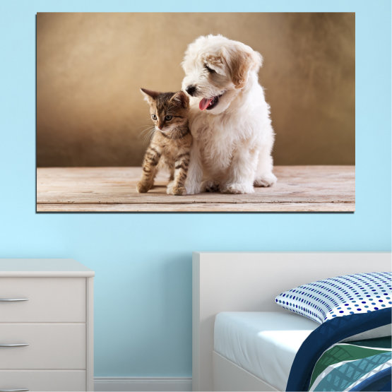 Canvas prints & wall decorative panels - 1 piece №0168 » Brown, Gray, Beige » Animal, Dog, Cat Form #1
