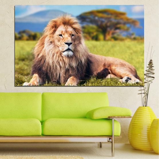 Canvas prints & wall decorative panels - 1 piece №0169 » Blue, Green, Yellow, Brown, Gray, Beige, Dark grey » Nature, Animal, Lion Form #1