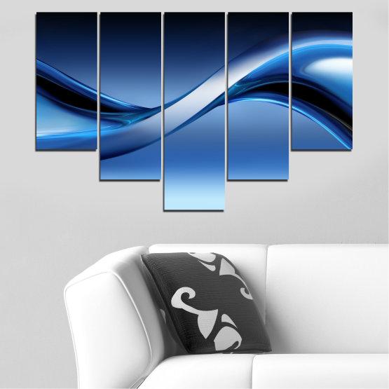 Декоративни панели и картини от канава - от 5 части №0085 » Син, Тюркоаз, Черен, Сив, Тъмно сив » Абстракция, Вълна, Линии Form #6