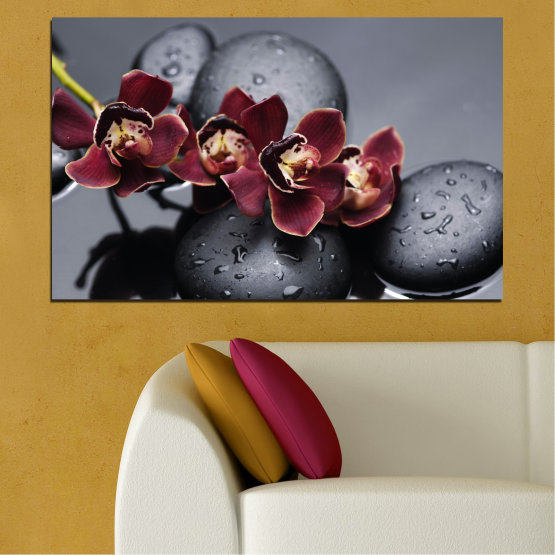 Canvas prints & wall decorative panels - 1 piece №0172 » Red, Pink, Black, Gray, Dark grey » Orchid, Water, Drops, Stones Form #1