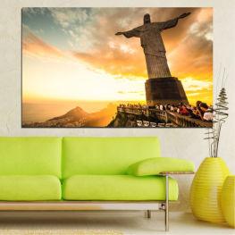 Забележителност, Рио де жанейро, Исус, Статуя » Жълт, Оранжев, Кафяв, Сив, Бял, Бежов