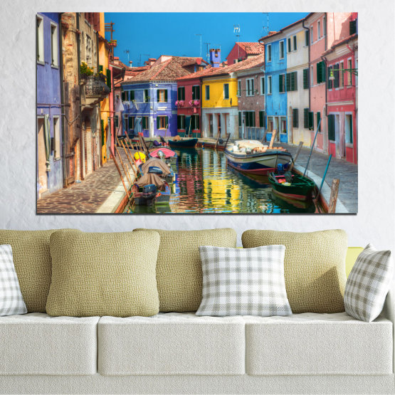 Canvas prints & wall decorative panels - 1 piece №0174 » Blue, Turquoise, Yellow, Orange, Brown, Black, Gray, Milky pink, Dark grey » Water, City, Venice, Colorful, House, Boat, Canal Form #1