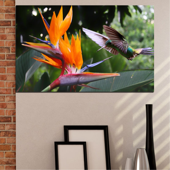 Canvas prints & wall decorative panels - 1 piece №0176 » Pink, Green, Orange, Brown, Black, Gray, Dark grey » Nature, Flowers, Birds, Hummer Form #1