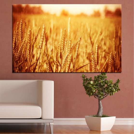 Canvas prints & wall decorative panels - 1 piece №0177 » Yellow, Orange, Brown, Beige » Sun, Autumn, Wheatear, Field Form #1