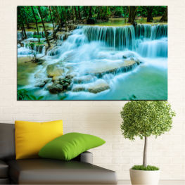 Landscape, Nature, Waterfall, Water, Forest » Turquoise, Green, Black, Gray, Dark grey