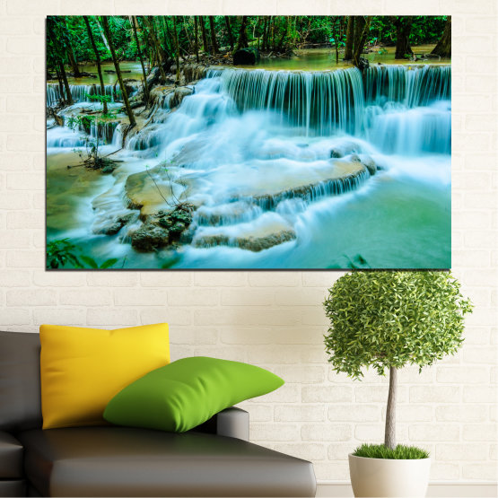 Canvas prints & wall decorative panels - 1 piece №0179 » Turquoise, Green, Black, Gray, Dark grey » Nature, Waterfall, Landscape, Water, Forest Form #1