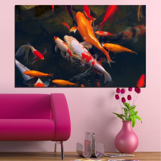 Canvas prints & wall decorative panels - 1 piece №0180 » Red, Orange, Brown, Black, Dark grey » Sea, Water, Fish Form #1