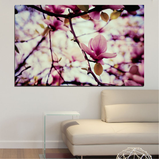 Canvas prints & wall decorative panels - 1 piece №0181 » Pink, Purple, Black, Gray, Beige, Milky pink » Flowers, Spring, Tree Form #1