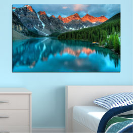 Nature, Freshness, Mountain, Forest, Reflection, Lake » Blue, Turquoise, Green, Orange, Black, Dark grey