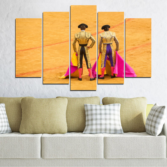Canvas prints & wall decorative panels - 5 pieces №0086 » Red, Pink, Yellow, Orange, Brown » Colorful, Sport, Bullfighter, Arena Form #1
