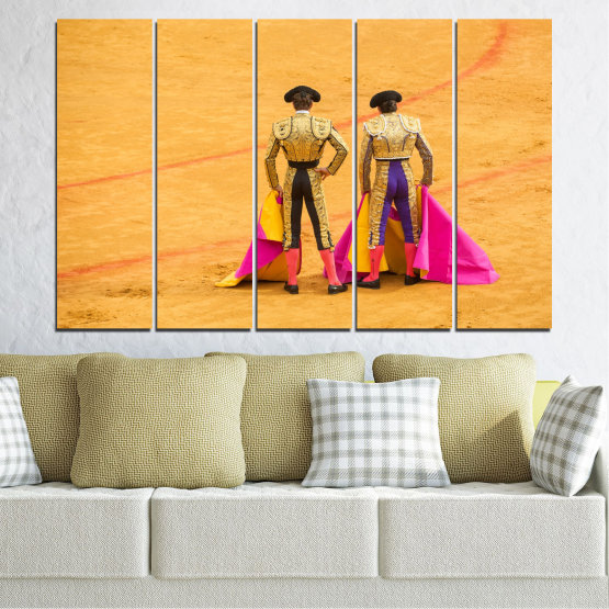 Canvas prints & wall decorative panels - 5 pieces №0086 » Red, Pink, Yellow, Orange, Brown » Colorful, Sport, Bullfighter, Arena Form #2