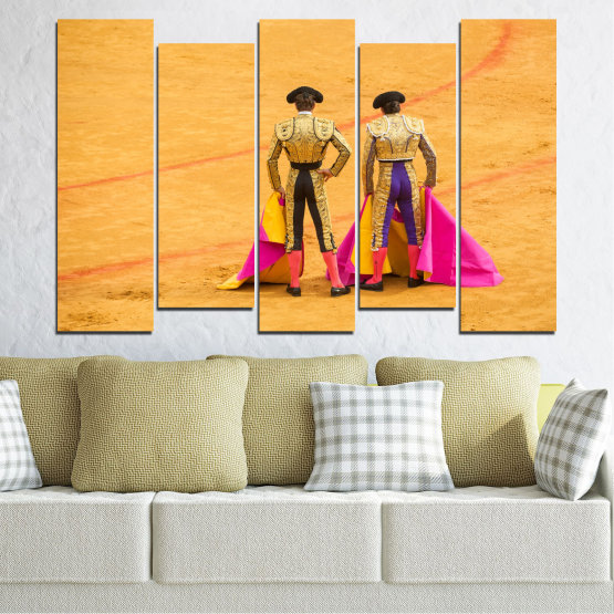 Canvas prints & wall decorative panels - 5 pieces №0086 » Red, Pink, Yellow, Orange, Brown » Colorful, Sport, Bullfighter, Arena Form #3