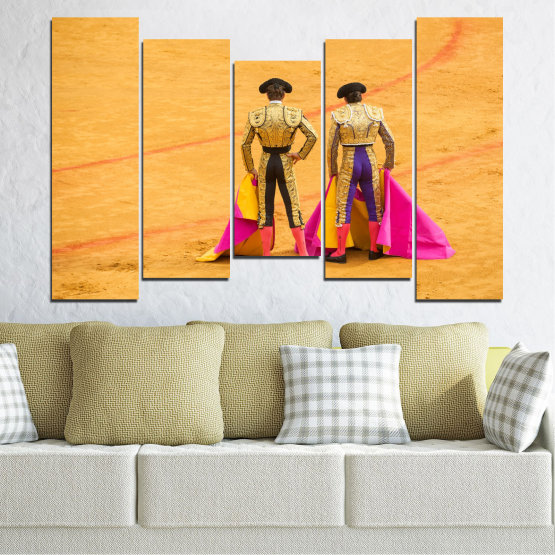 Canvas prints & wall decorative panels - 5 pieces №0086 » Red, Pink, Yellow, Orange, Brown » Colorful, Sport, Bullfighter, Arena Form #4