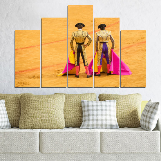 Canvas prints & wall decorative panels - 5 pieces №0086 » Red, Pink, Yellow, Orange, Brown » Colorful, Sport, Bullfighter, Arena Form #5