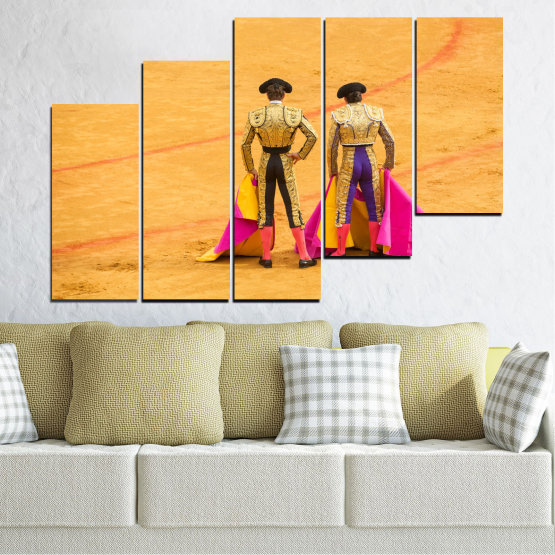 Canvas prints & wall decorative panels - 5 pieces №0086 » Red, Pink, Yellow, Orange, Brown » Colorful, Sport, Bullfighter, Arena Form #8