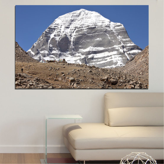 Canvas prints & wall decorative panels - 1 piece №0184 » Blue, Gray, White, Dark grey » Nature, Mountain, Landmark, Kailash, Buddha Form #1