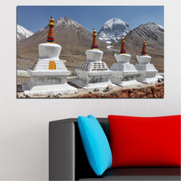 Landmark, Mountain, Tibet, Kailash, Stupas, Buddha, Statue » Purple, Brown, Gray, Dark grey