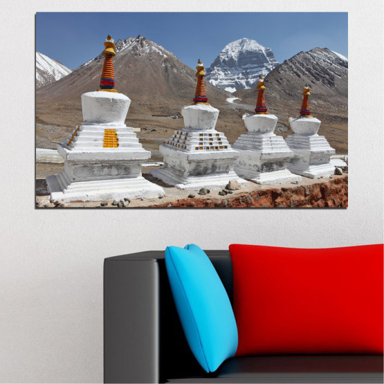Canvas prints & wall decorative panels - 1 piece №0185 » Purple, Brown, Gray, Dark grey » Mountain, Landmark, Tibet, Kailash, Stupas, Buddha, Statue Form #1