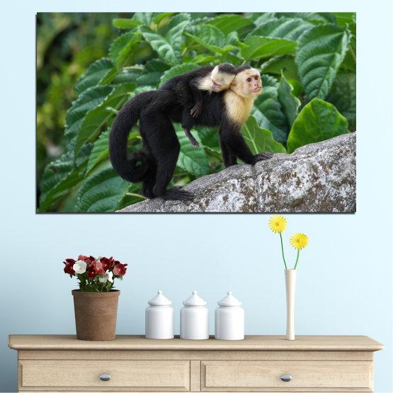 Εκτύπωση σε καμβά και διακοσμητικά πάνελ τοίχου - 1 τεμάχιο №0186 » Πράσινος, Μαύρος, Γκρί, Σκούρο γκρι » Φύση, Ζώο, Μαϊμού Form #1