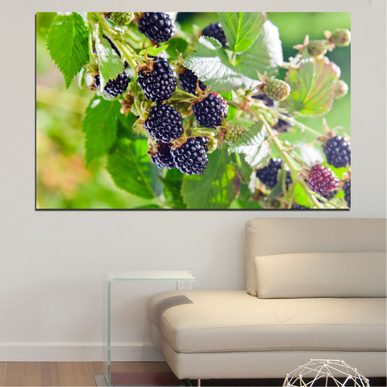 Canvas prints & wall decorative panels - 1 piece №0189 » Purple, Green, Gray, Beige » Nature, Fruits, Blackberries Form #1