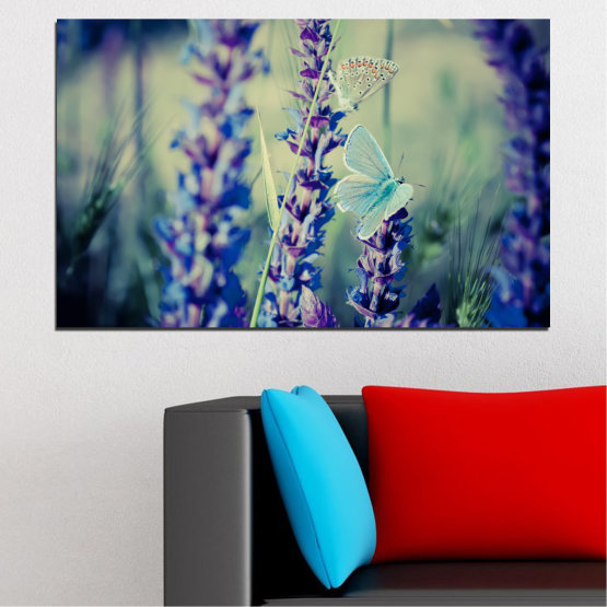 Canvas prints & wall decorative panels - 1 piece №0190 » Purple, Blue, Black, Gray, Dark grey » Flowers, Nature, Butterfly, Lavender Form #1