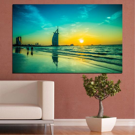 Canvas prints & wall decorative panels - 1 piece №0191 » Blue, Turquoise, Green, Yellow, Black, Gray, Dark grey » Sea, Sun, Dubai, Beach, Seaside Form #1