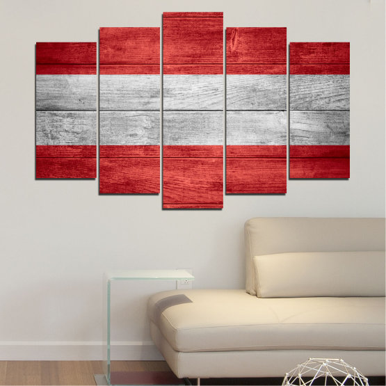 Canvas prints & wall decorative panels - 5 pieces №0087 » Red, Gray » Austria, Flag, Flag Form #1