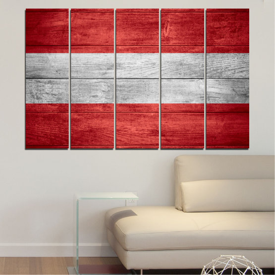Canvas prints & wall decorative panels - 5 pieces №0087 » Red, Gray » Austria, Flag, Flag Form #2