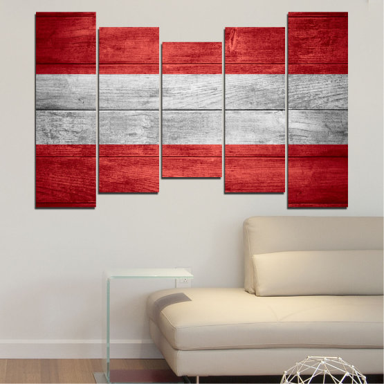 Canvas prints & wall decorative panels - 5 pieces №0087 » Red, Gray » Austria, Flag, Flag Form #4