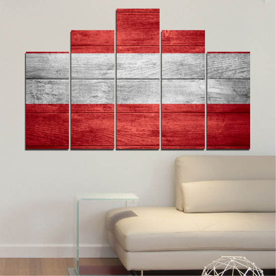 Canvas prints & wall decorative panels - 5 pieces №0087 » Red, Gray » Austria, Flag, Flag Form #5