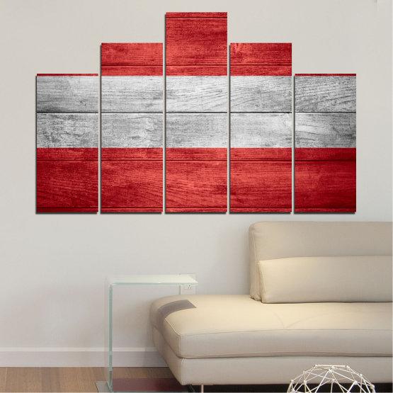 Декоративни панели и картини от канава - от 5 части №0087 » Червен, Сив » Австрия, Знаме, Флаг Form #5