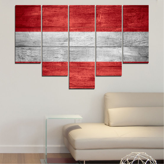 Canvas prints & wall decorative panels - 5 pieces №0087 » Red, Gray » Austria, Flag, Flag Form #6