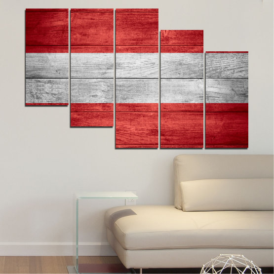Canvas prints & wall decorative panels - 5 pieces №0087 » Red, Gray » Austria, Flag, Flag Form #7