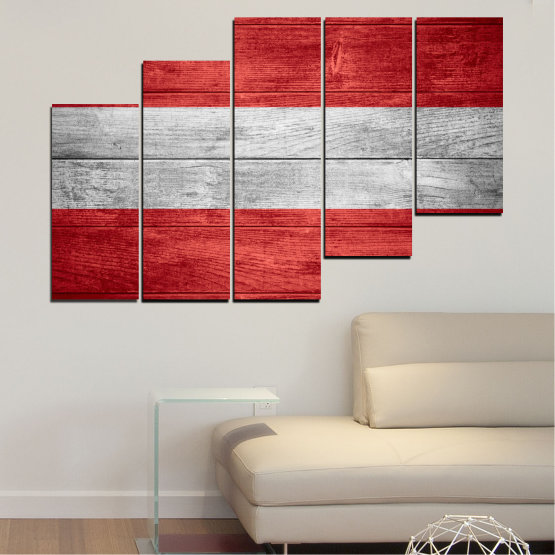 Canvas prints & wall decorative panels - 5 pieces №0087 » Red, Gray » Austria, Flag, Flag Form #8