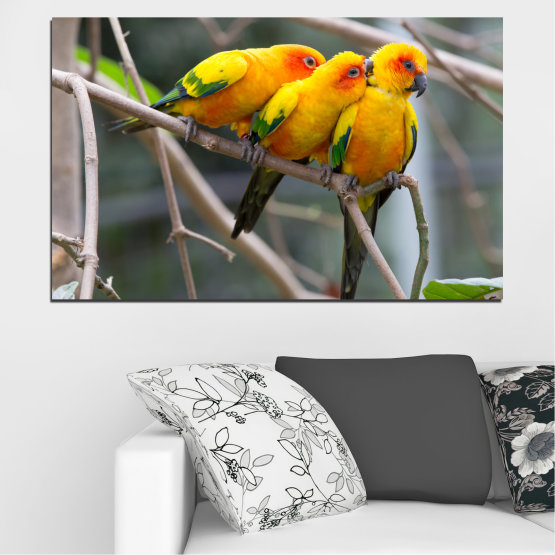 Canvas prints & wall decorative panels - 1 piece №0193 » Red, Green, Yellow, Orange, Brown, Gray, Beige, Dark grey » Animal, Birds, Parrot Form #1