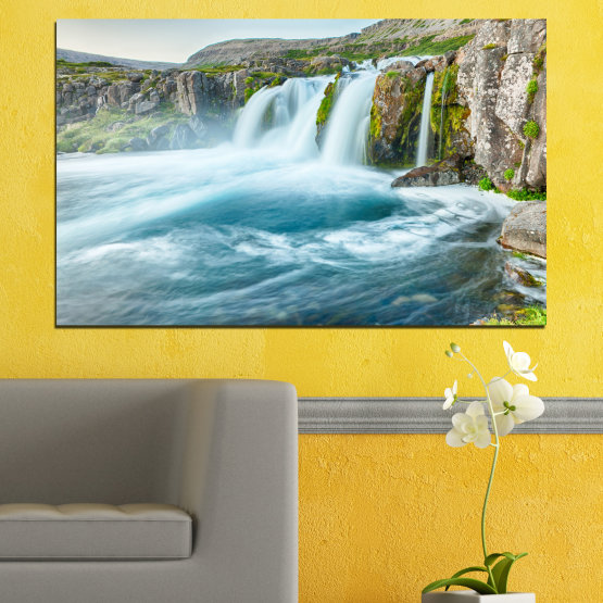 Canvas prints & wall decorative panels - 1 piece №0194 » Blue, Turquoise, Green, Gray, White, Dark grey » Nature, Waterfall, Landscape, Water Form #1