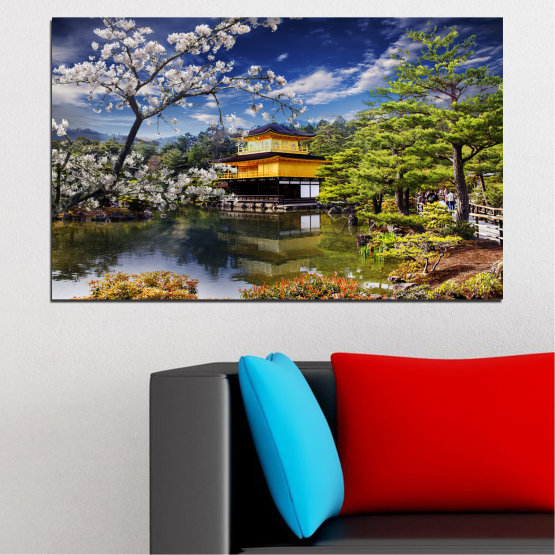 Canvas prints & wall decorative panels - 1 piece №0195 » Blue, Green, Yellow, Brown, Black, Gray, White, Dark grey » Landscape, Tree, House, Japan, Аsia Form #1