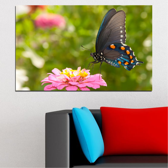 Canvas prints & wall decorative panels - 1 piece №0196 » Pink, Green, Yellow, Brown, Milky pink, Dark grey » Flowers, Nature, Butterfly Form #1