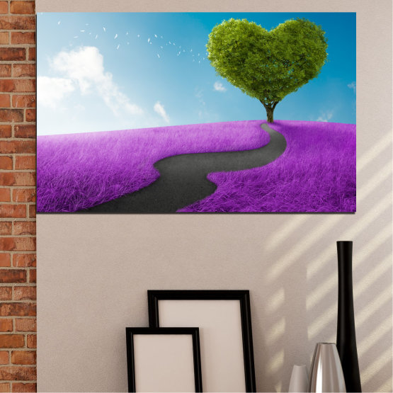 Canvas prints & wall decorative panels - 1 piece №0197 » Purple, Turquoise, Green, Gray, White, Dark grey » Tree, Collage, Heart, Meadow Form #1