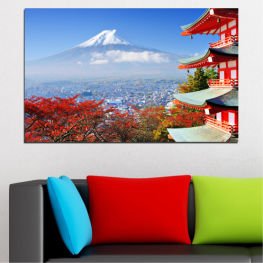 City, House, Japan, Аsia » Red, Blue, Turquoise, Gray, White
