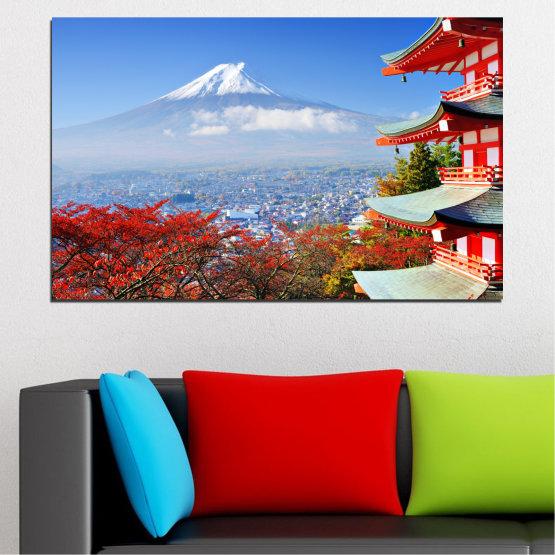 Εκτύπωση σε καμβά και διακοσμητικά πάνελ τοίχου - 1 τεμάχιο №0198 » Κόκκινος, Μπλε, Τουρκουάζ, Γκρί, Άσπρο » Πόλη, Σπίτι, Ιαπωνία, Аsia Form #1