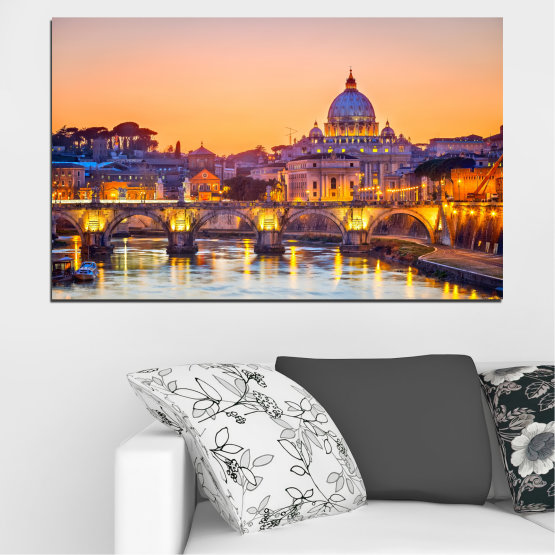 Canvas prints & wall decorative panels - 1 piece №0199 » Blue, Yellow, Orange, Brown, Gray, Beige, Dark grey » City, Night, Charles bridge, Bridge, Capital, Czech republic Form #1