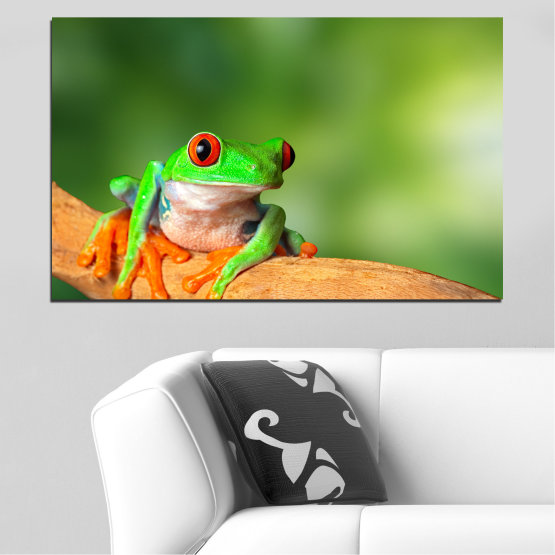 Canvas prints & wall decorative panels - 1 piece №0204 » Green, Yellow, Orange, Beige » Animal, Frog, Reptile Form #1