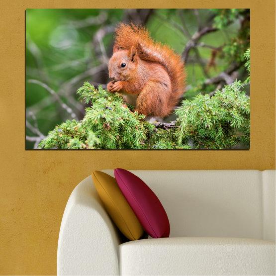 Canvas prints & wall decorative panels - 1 piece №0205 » Green, Brown, Gray, Dark grey » Animal, Forest, Squirrel Form #1