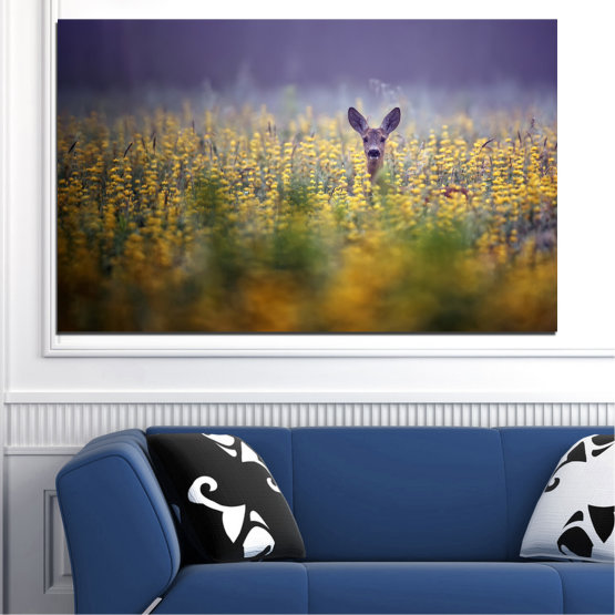 Canvas prints & wall decorative panels - 1 piece №0206 » Purple, Green, Yellow, Brown, Gray, Dark grey » Animal, Meadow, Roe Form #1